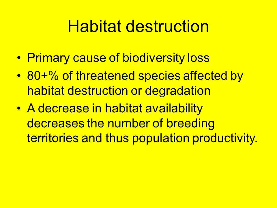 Habitat destruction Primary cause of biodiversity loss