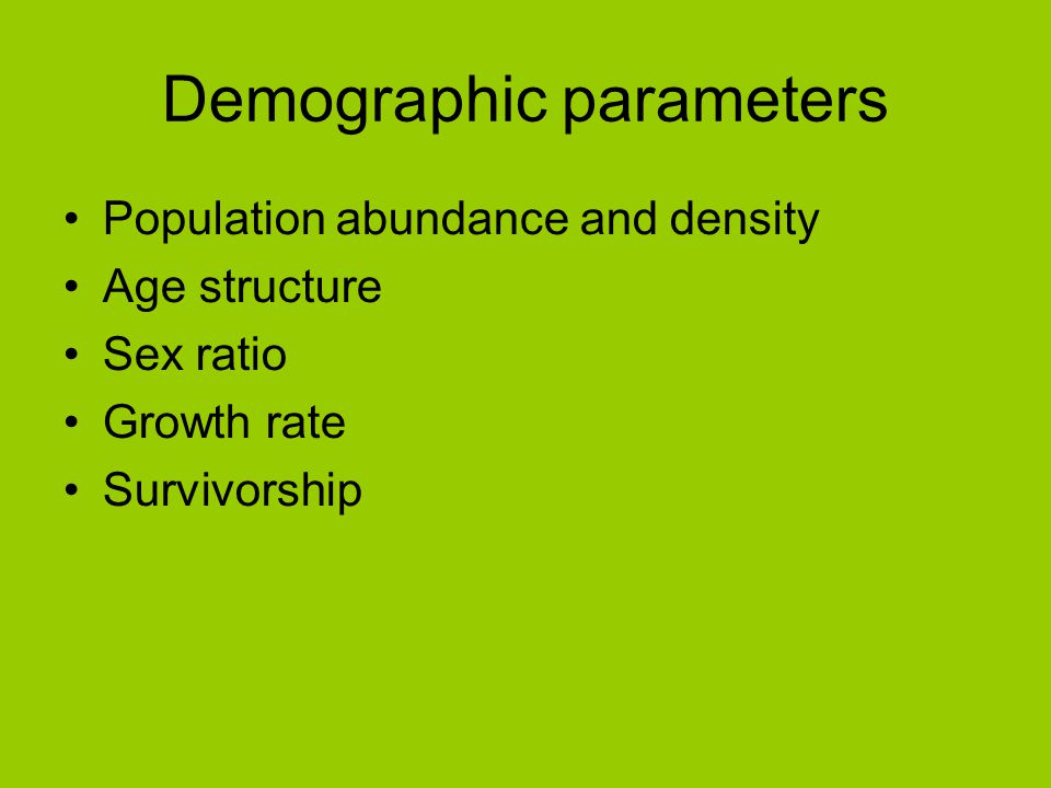 Demographic parameters