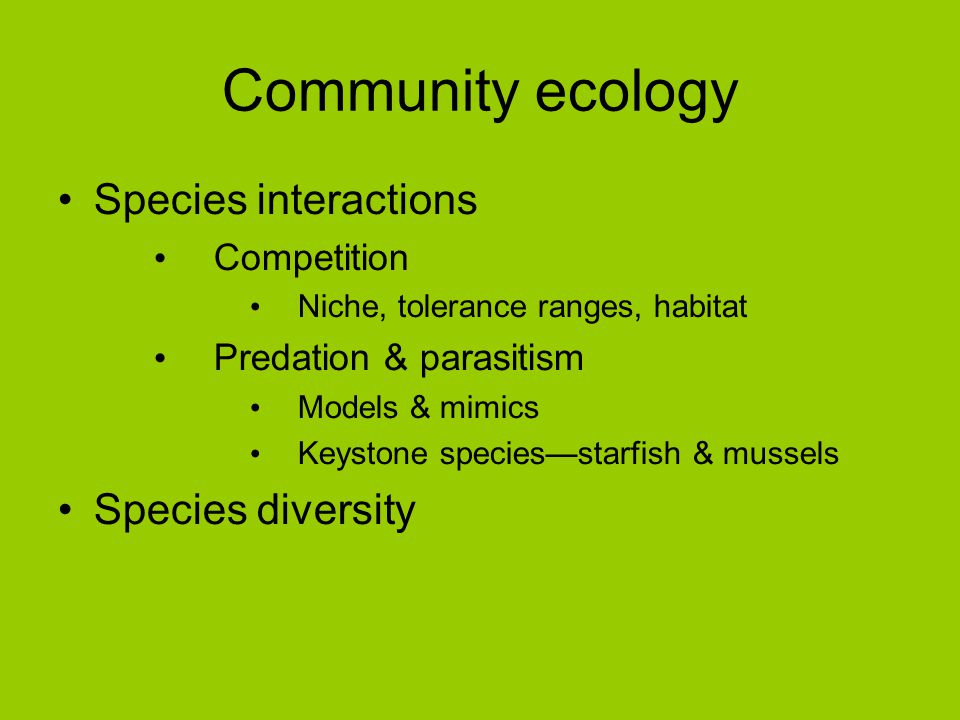 Community ecology Species interactions Species diversity Competition