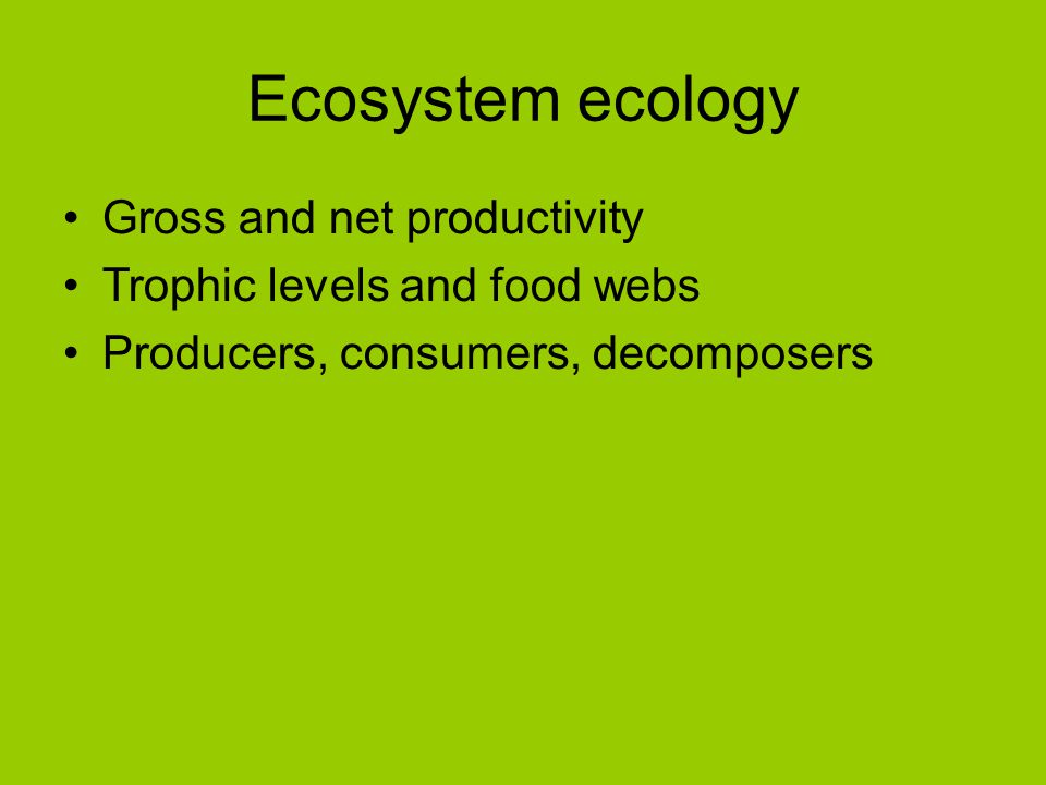 Ecosystem ecology Gross and net productivity