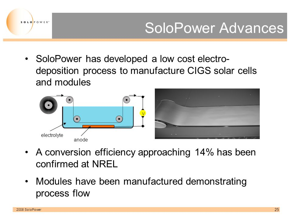 SoloPower Advances SoloPower has developed a low cost electro-deposition process to manufacture CIGS solar cells and modules.