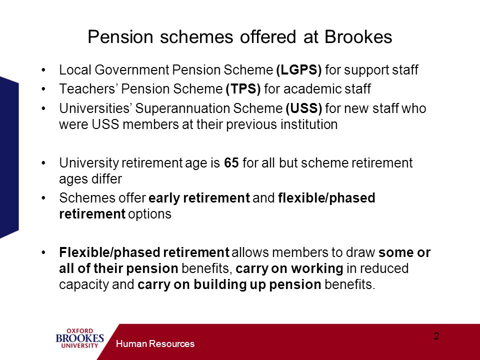 Pension schemes offered at Brookes