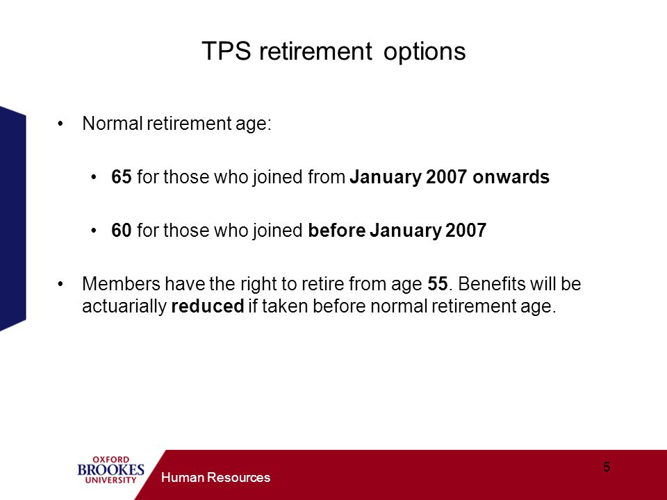 TPS retirement options