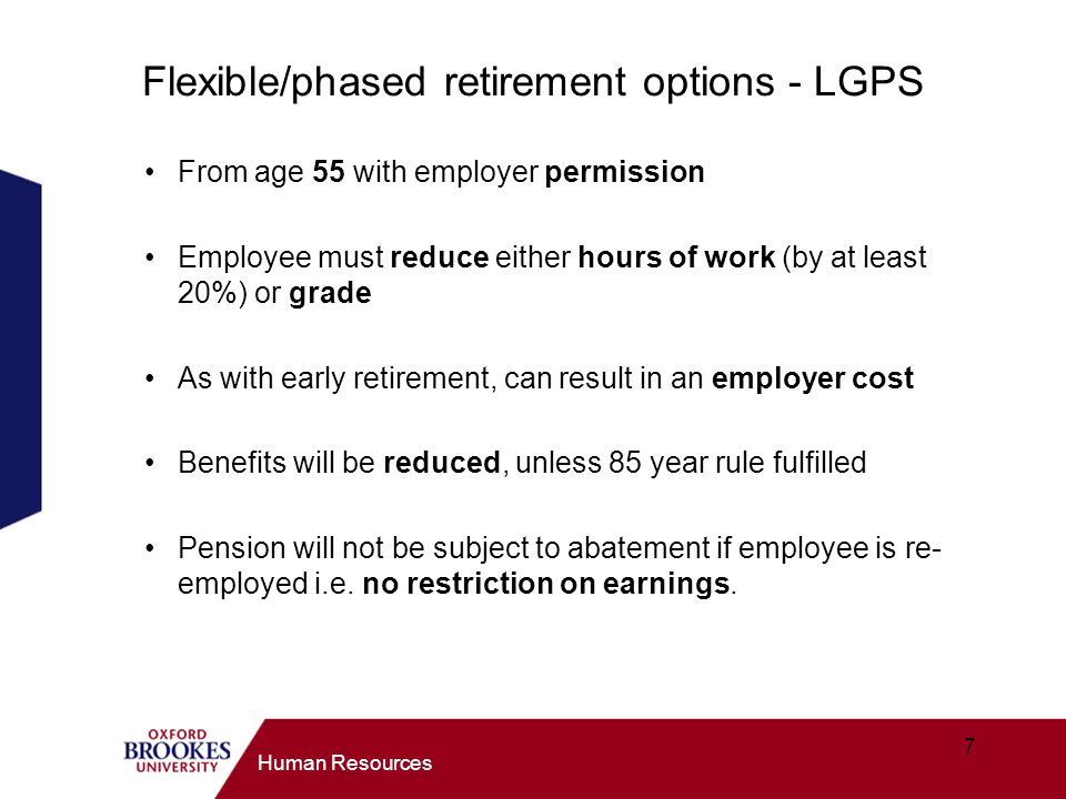 Flexible/phased retirement options - LGPS