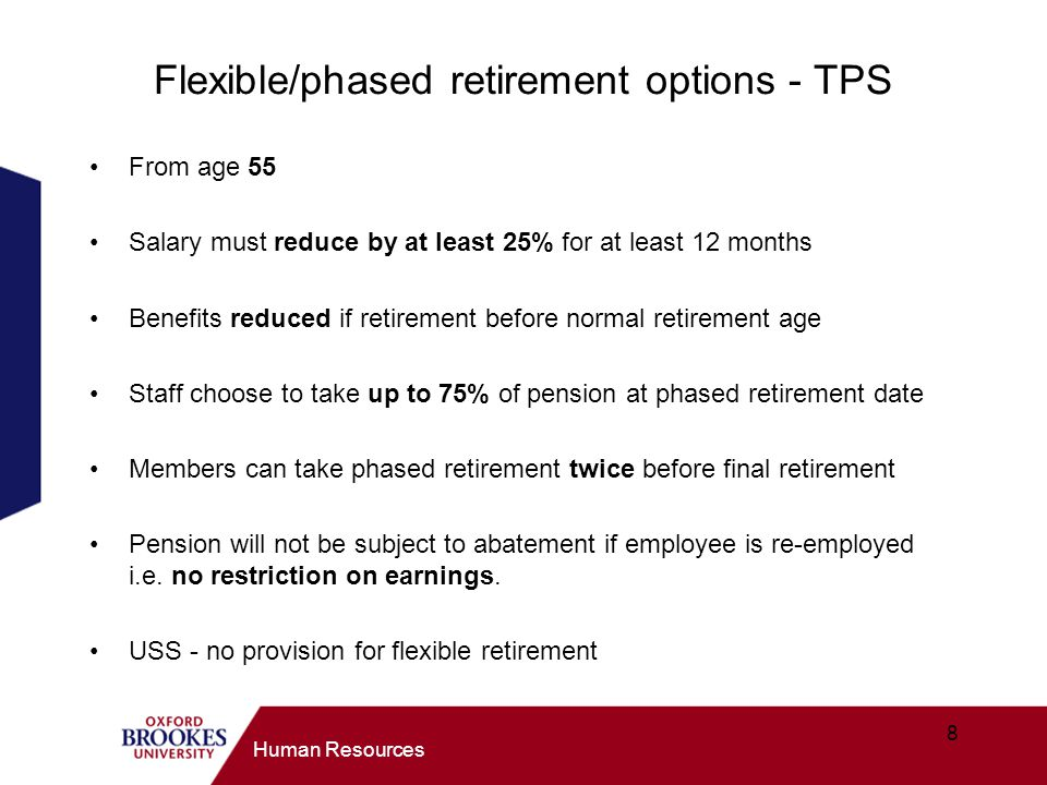 Flexible/phased retirement options - TPS
