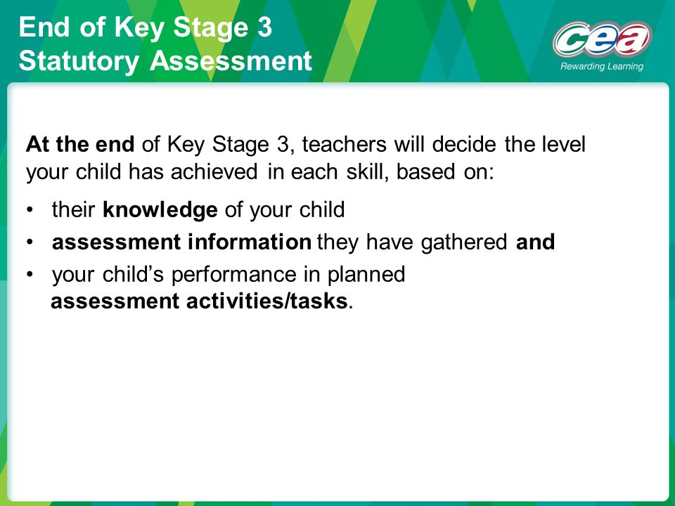 End of Key Stage 3 Statutory Assessment