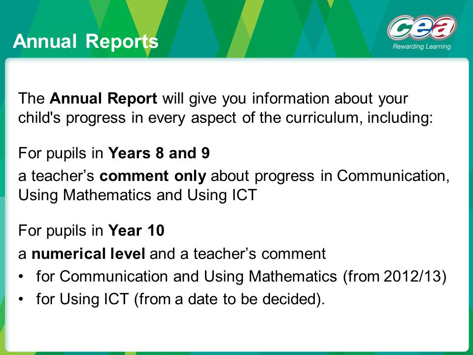 Annual Reports The Annual Report will give you information about your child s progress in every aspect of the curriculum, including: