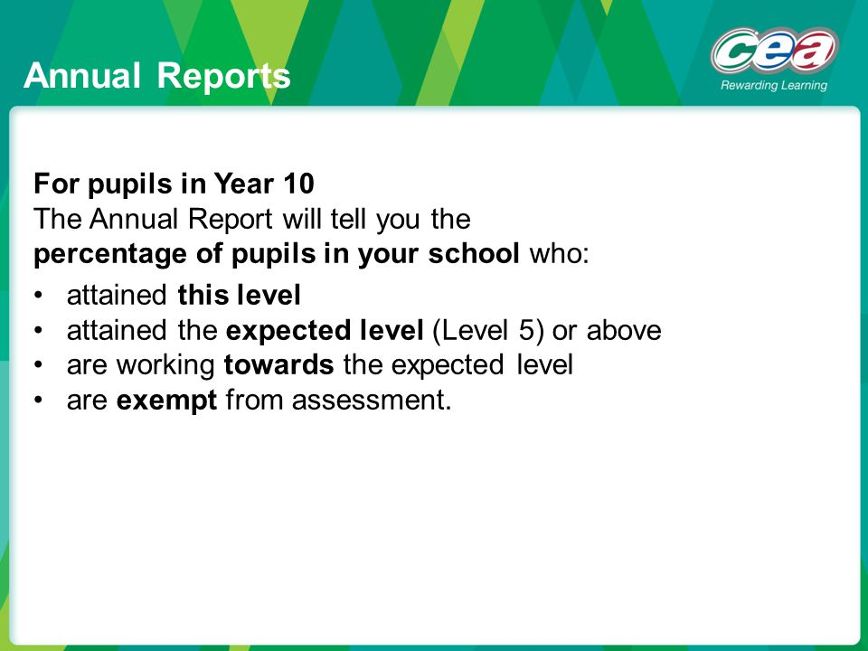 Annual Reports For pupils in Year 10