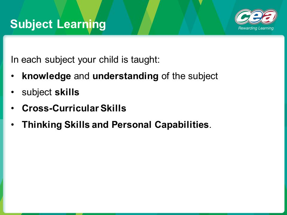 Subject Learning In each subject your child is taught: