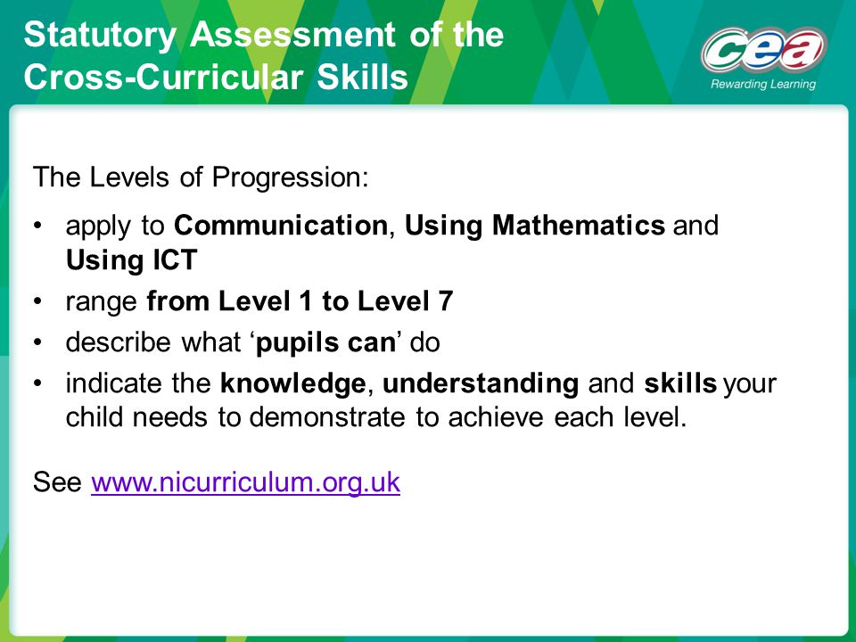 Statutory Assessment of the Cross-Curricular Skills