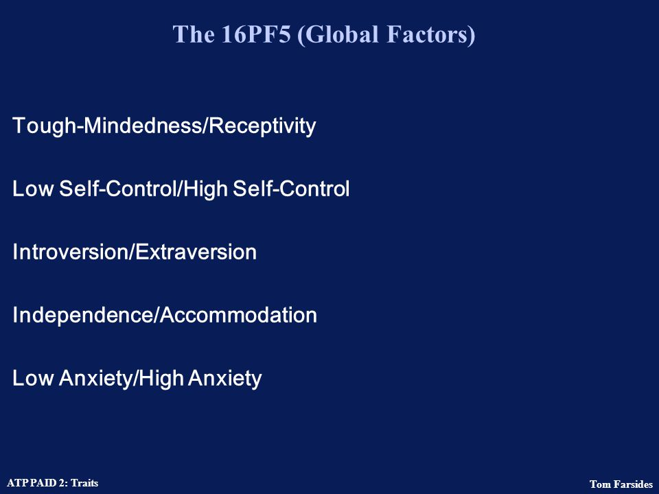 The 16PF5 (Global Factors)