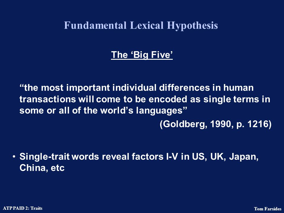 Fundamental Lexical Hypothesis