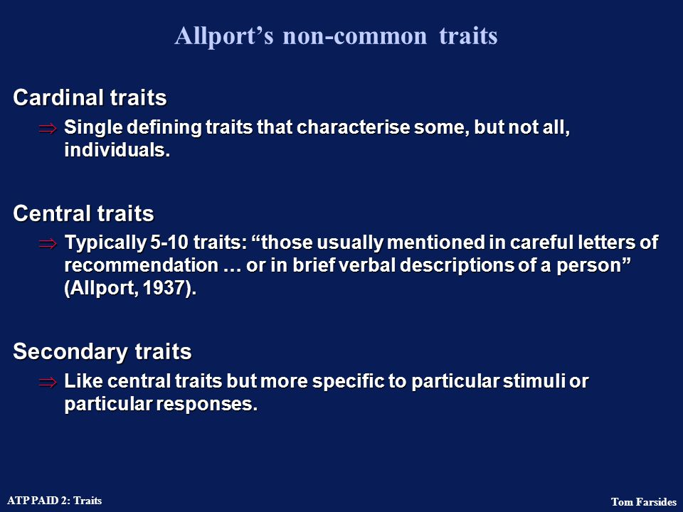 Allport's non-common traits