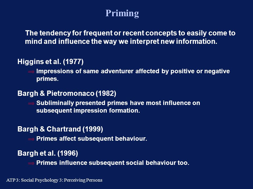 Priming The tendency for frequent or recent concepts to easily come to mind and influence the way we interpret new information.