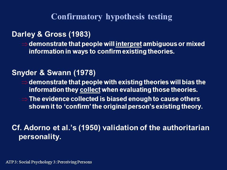 Confirmatory hypothesis testing