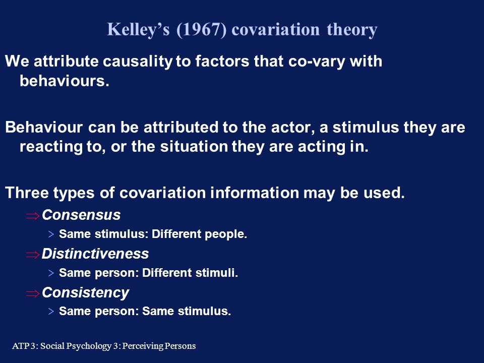 Kelley's (1967) covariation theory