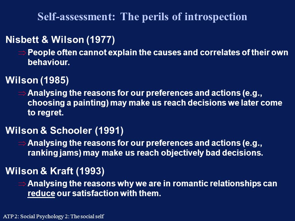 Self-assessment: The perils of introspection