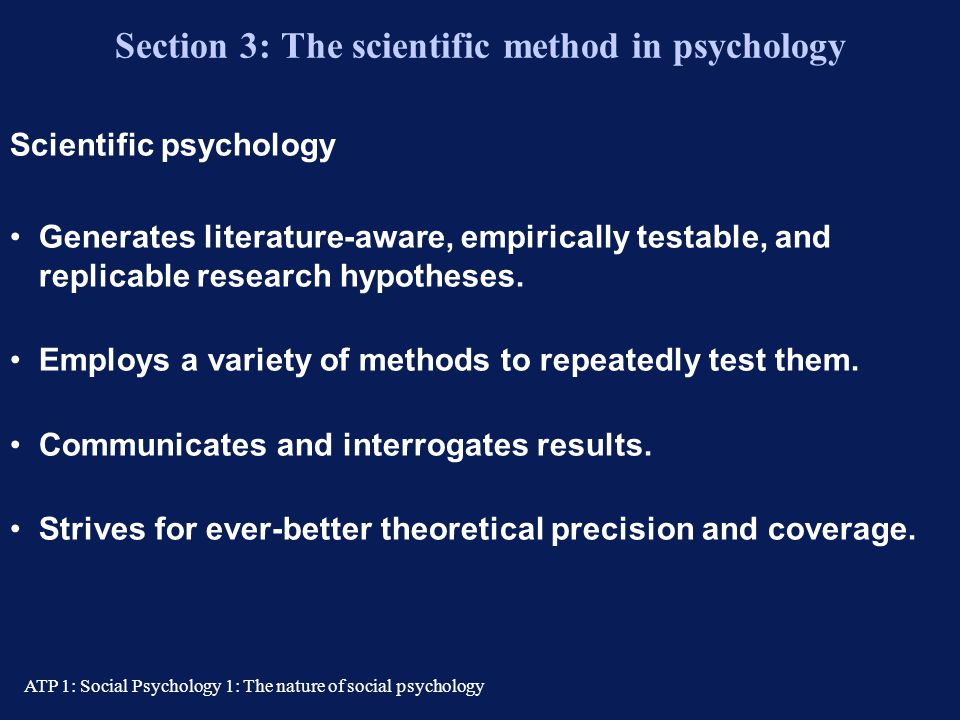 Section 3: The scientific method in psychology
