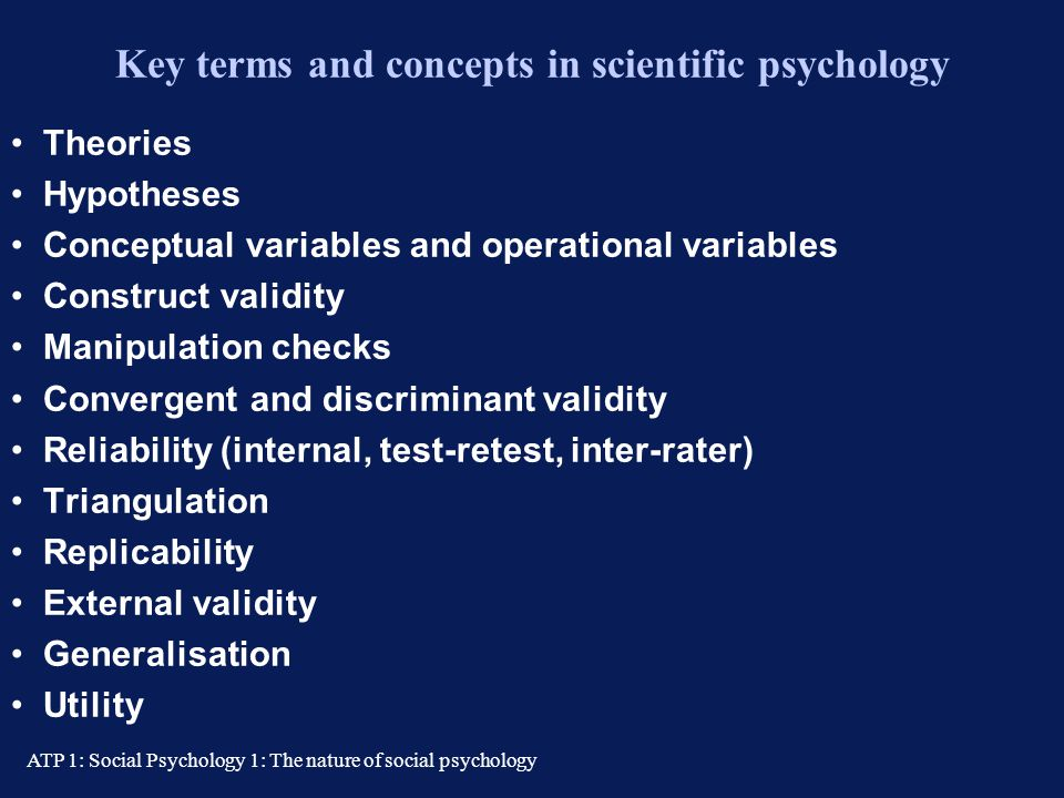 Key terms and concepts in scientific psychology