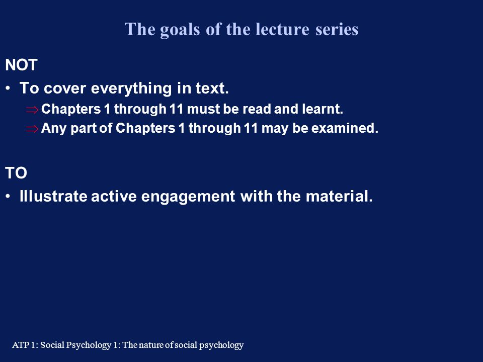 The goals of the lecture series