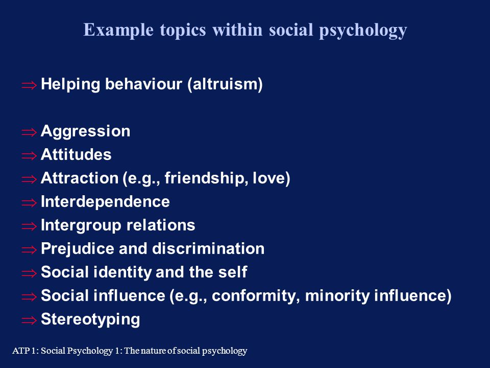 Example topics within social psychology