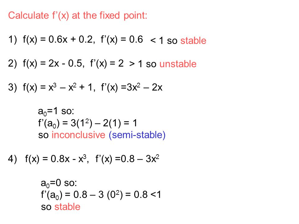 Calculate f'(x) at the fixed point: