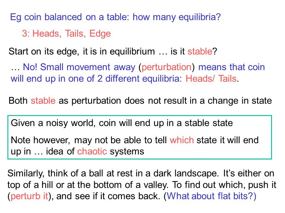 Eg coin balanced on a table: how many equilibria