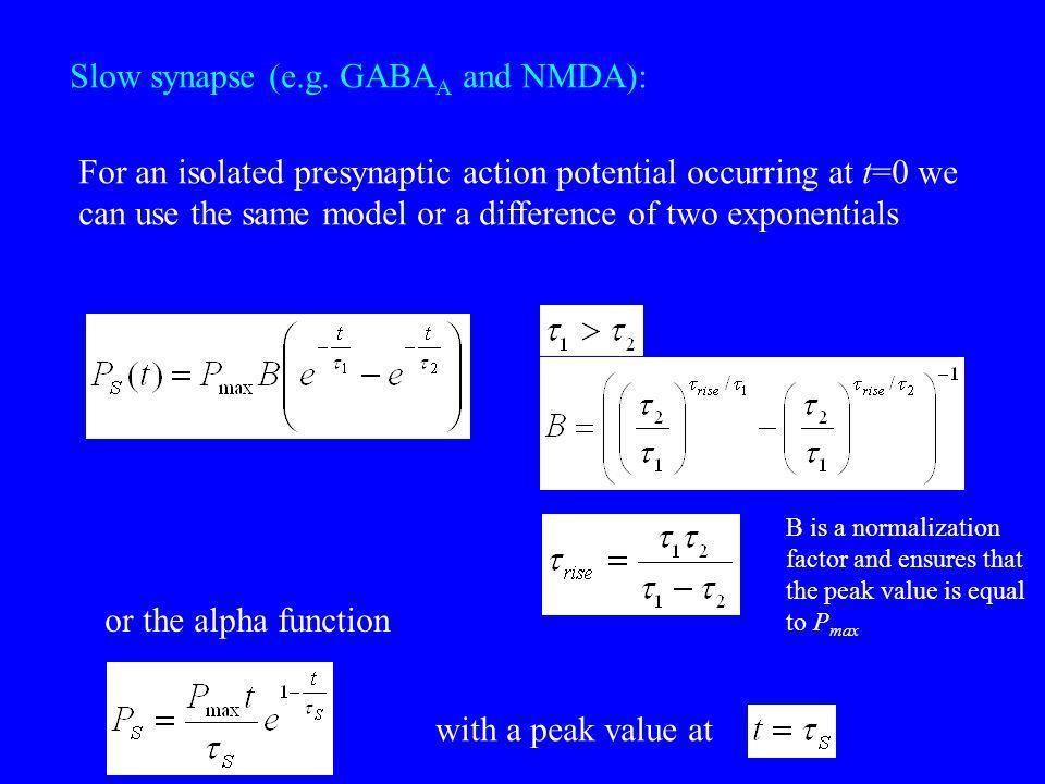 Slow synapse (e.g. GABAA and NMDA):