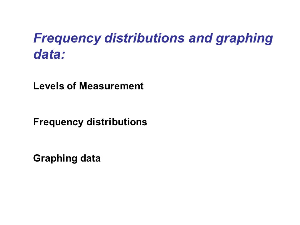 Frequency distributions and graphing data: