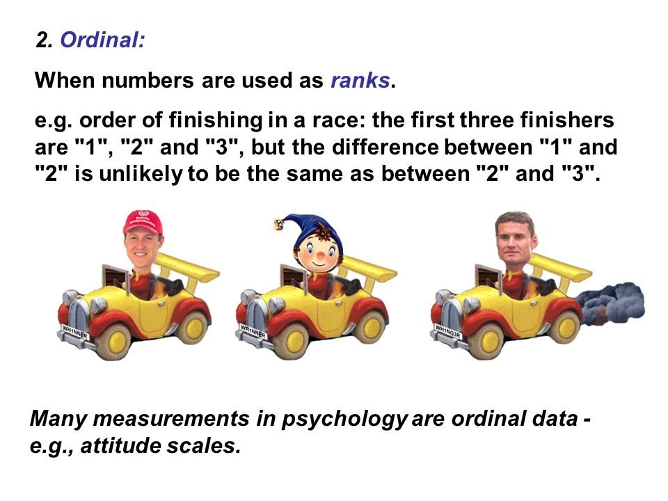 2. Ordinal: When numbers are used as ranks.