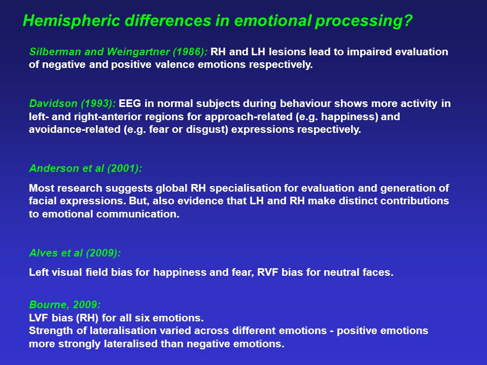 Hemispheric differences in emotional processing