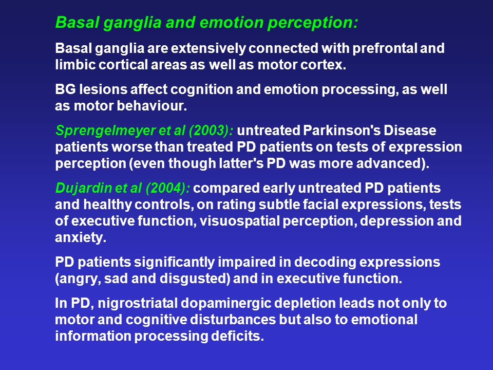Basal ganglia and emotion perception: