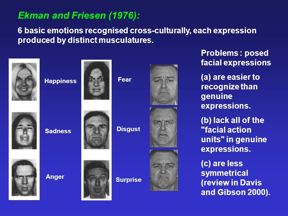 Ekman and Friesen (1976): 6 basic emotions recognised cross-culturally, each expression produced by distinct musculatures.