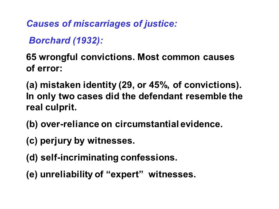 Causes of miscarriages of justice: