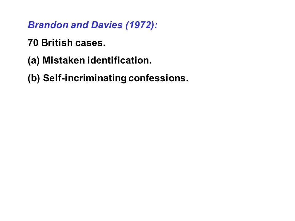 Brandon and Davies (1972): 70 British cases. (a) Mistaken identification.