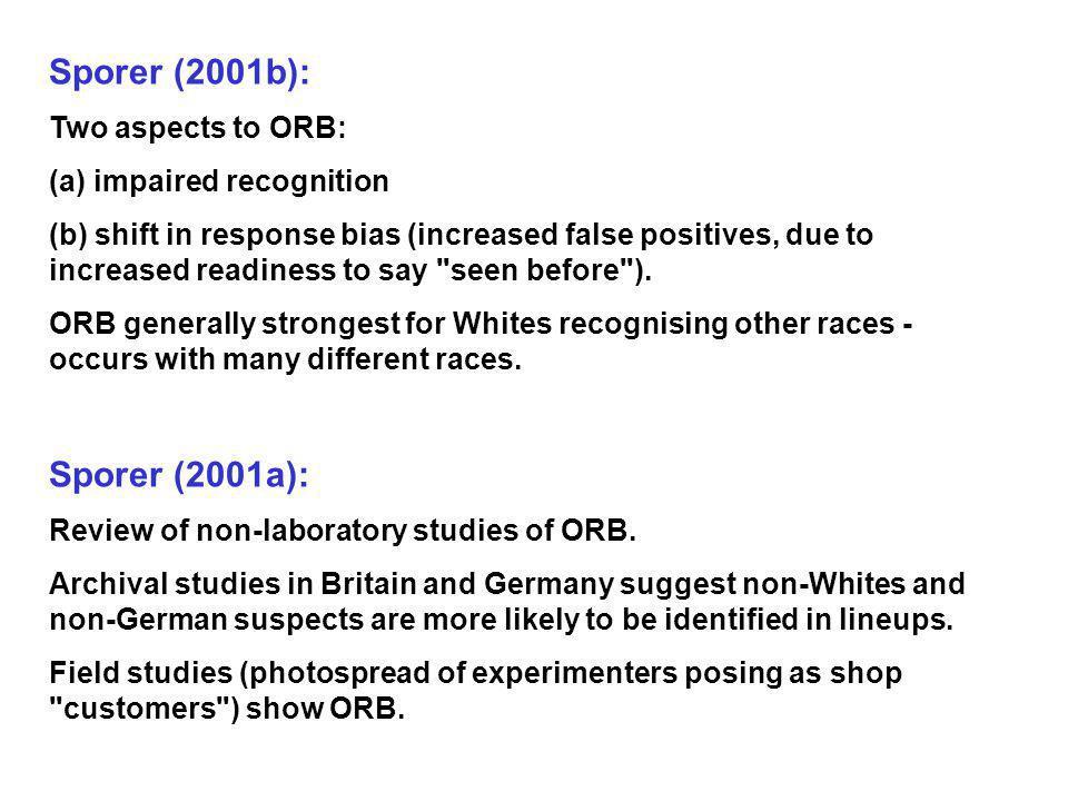 Sporer (2001b): Sporer (2001a): Two aspects to ORB: