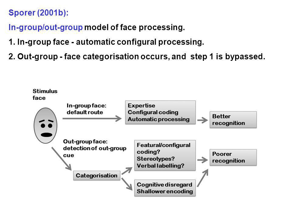 Sporer (2001b): In-group/out-group model of face processing. 1. In-group face - automatic configural processing.