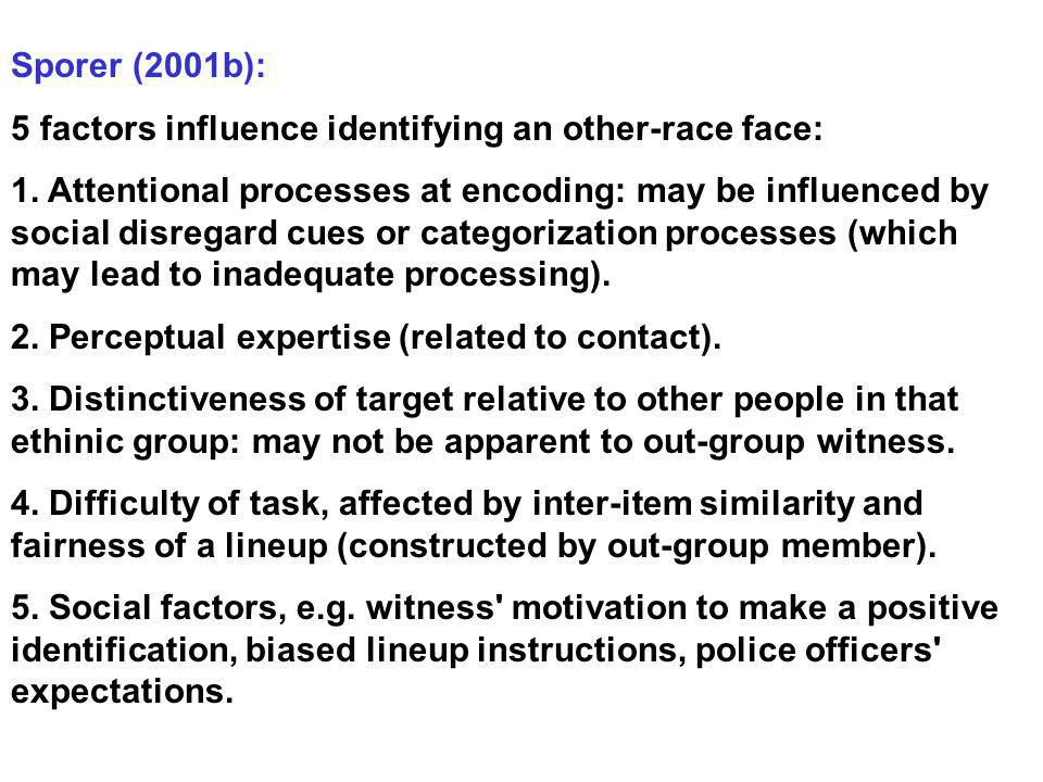 Sporer (2001b): 5 factors influence identifying an other-race face: