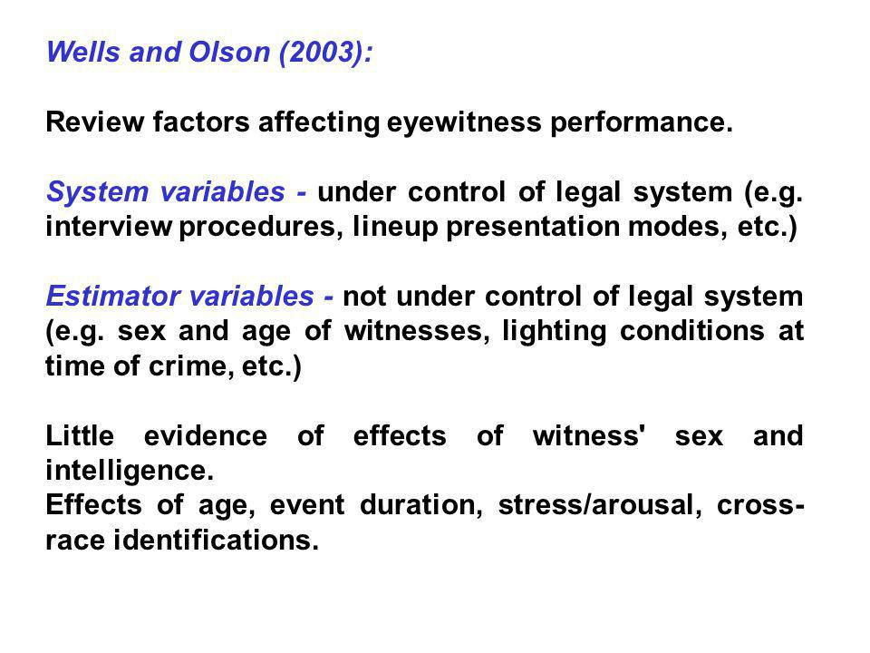 Wells and Olson (2003): Review factors affecting eyewitness performance.