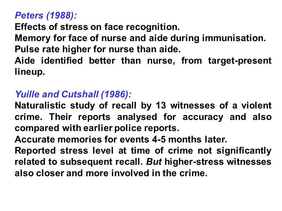 Peters (1988): Effects of stress on face recognition. Memory for face of nurse and aide during immunisation.