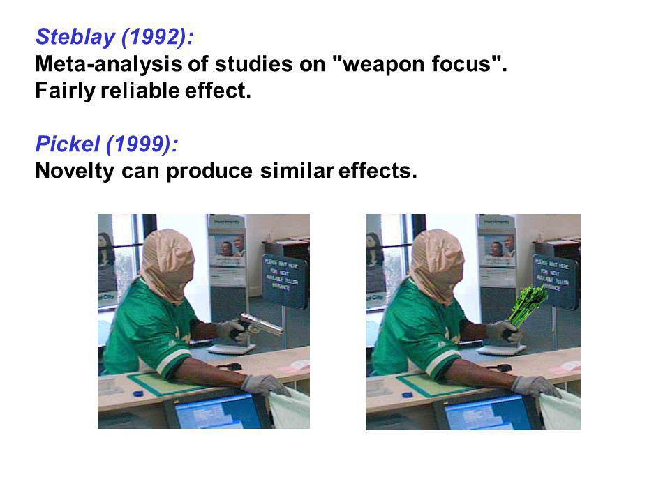 Steblay (1992): Meta-analysis of studies on weapon focus . Fairly reliable effect. Pickel (1999):