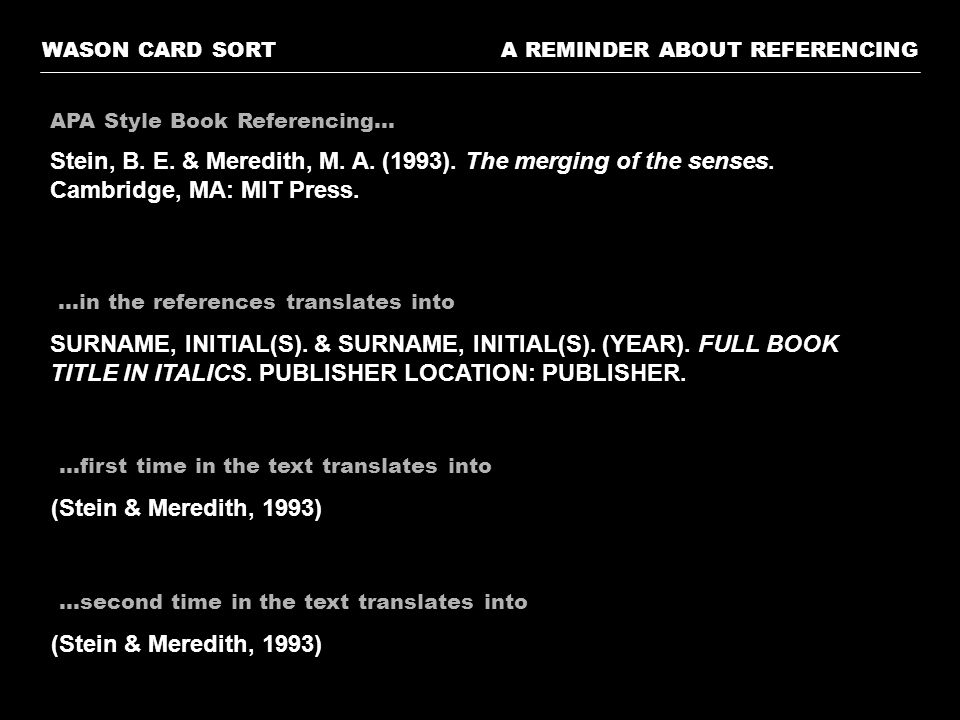 WASON CARD SORT A REMINDER ABOUT REFERENCING. APA Style Book Referencing…