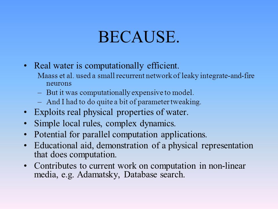 BECAUSE. Real water is computationally efficient.