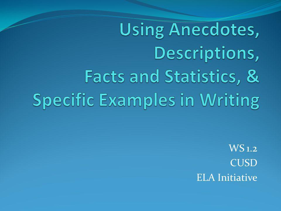 Using Anecdotes, Descriptions, Facts and Statistics, & Specific Examples in Writing