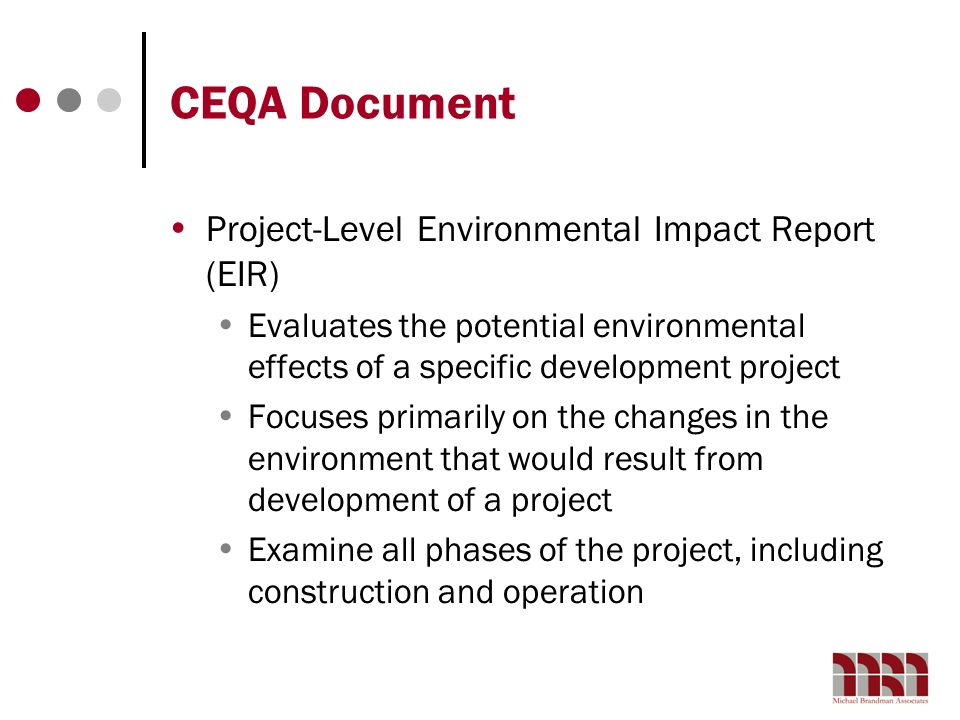 CEQA Document Project-Level Environmental Impact Report (EIR)
