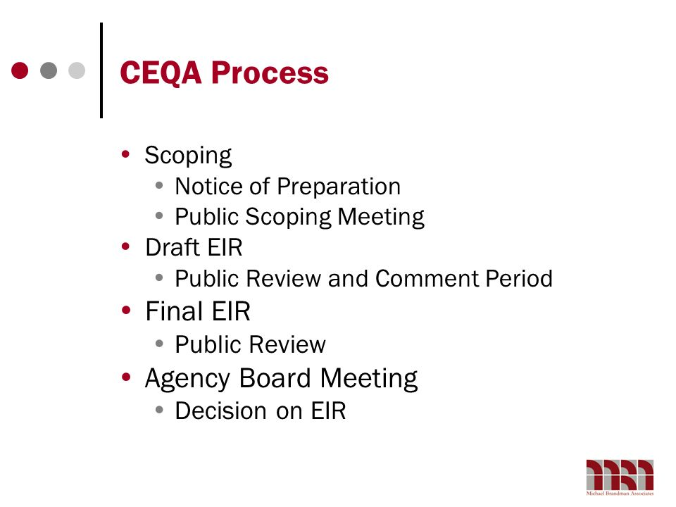 CEQA Process Final EIR Agency Board Meeting Scoping Draft EIR