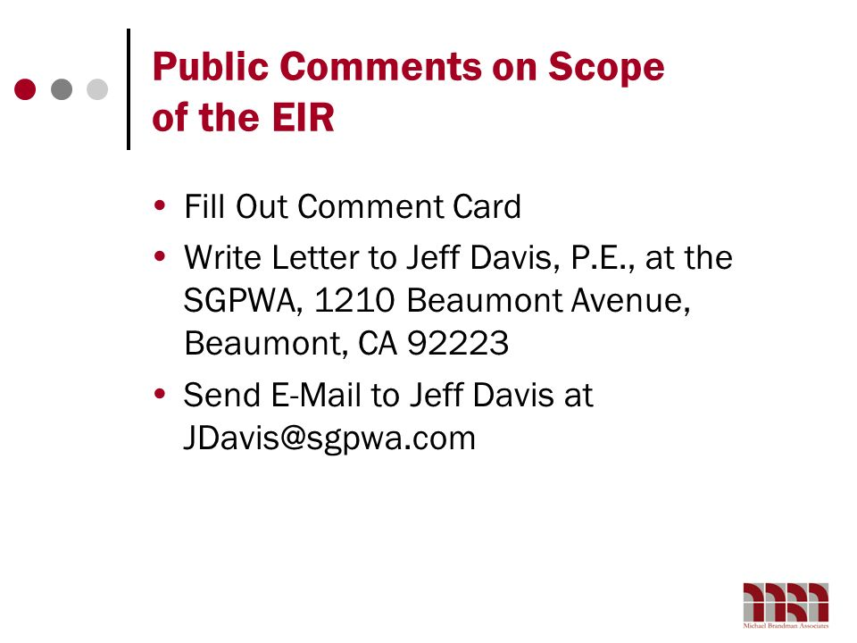Public Comments on Scope of the EIR
