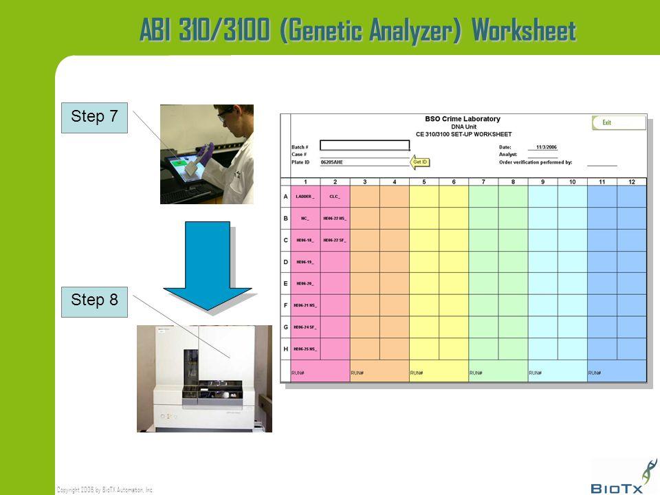 ABI 310/3100 (Genetic Analyzer) Worksheet