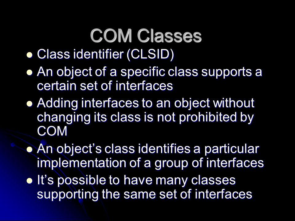 COM Classes Class identifier (CLSID)