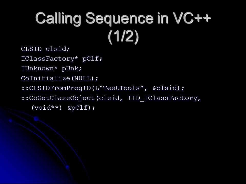 Calling Sequence in VC++ (1/2)